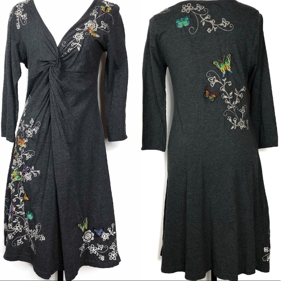 Johnny Was Dresses & Skirts - Johnny Was Gray Butterfly Embroidered Dress